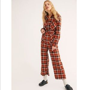 NWOT Free People All About You Plaid Jumpsuit